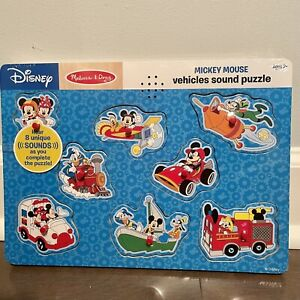 Mickey Mouse Melissa & Doug Vehicle Sounds Wooden Puzzle NWT