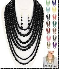 Pearl Statement Necklace Beaded Multi 7 Row Layered Strand Long Chunky Set Chain