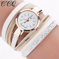 Fashion Women Crystal Stainless Steel Leather Bracelet Analog Quartz Wrist Watch