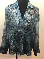 Chicos Chico's Blouse Tunic Top Blue Semi Sheer Long Sleeve Flocked sz 1 med