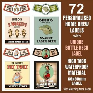 72 HOME BREW LABELS, FULLY CUSTOMISED DESIGN, 68x80mm WITH MATCHING NECK LABEL