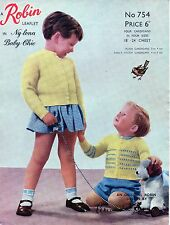 ~ Vintage 1950's Baby Knitting Pattern For Sweet Cardigans ~