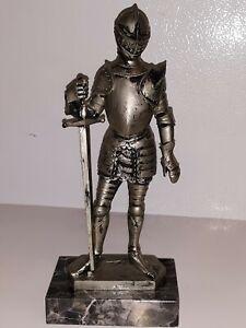 """Nanik DEPOSE ITALY 69🕷 Suited Knight & Long Sword w/Rectangular Marble Base 8""""H"""