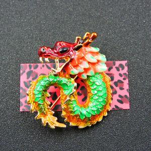 New Green Enamel Cute Dragon Betsey Johnson Charm Brooch Pin