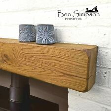 Rustic Oak Beam Mantel | Solid Fireplace Surround | Floating Shelf Mantle-10x15