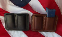 J&J LEATHER 9MM DOUBLE STACK DOUBLE MAGAZINE CARRIER HOLDER HOLSTER W/ BELT CLIP