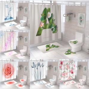Flowers Extra Long Art Shower Curtain Waterproof Polyester Fabric Moisture Proof