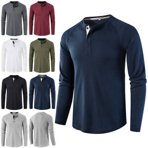 Mens Long Sleeve Henley T-shirt Casual Solid Slim Fit Button Pullover Tops Tunic