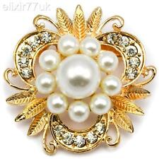 NEW GOLD FAUX PEARL CRYSTAL FLOWER LEAF BOUQUET BROOCH WEDDING BRIDAL BROACH UK