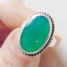 Art Deco Green Chrysoprase Silver Ring Size M 1/2