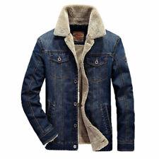 Men's Jean Jacket  Fur Collar Fleece Lined Fashion Casual Denim Warm Coat Winter