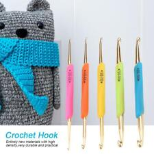 5PcS Crochet Hook Set Soft Grip Handles Knitting Needles Multi Colour Aluminum L