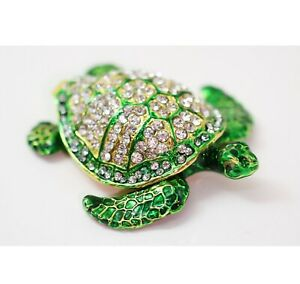 Bejeweled Enameled Trinket Box/Figurine With Rhinestones- Sparkling Sea Turtle