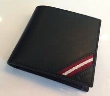 675$ Bally Bifold Black Leather Wallet
