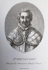 1795 Antique Print; Portrait of Sir Thomas Lucy (d.1640) - Samuel Ireland
