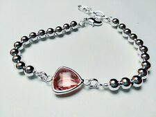 Bracelets Seed Cubic Zirconia Pink with Silver Laminated 925 18 cm - Long More 2