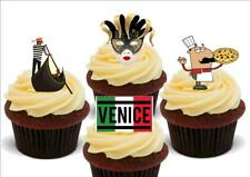 Italy Venice Mix Pizza Gondola Gold Mask  Stand Up Premium Card Cake Toppers