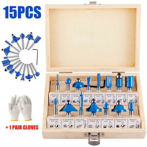 """15x 1/4"""" Tungsten Carbide Tipped TCT Router Bits Shank Sealed Cutter Bearing Set"""