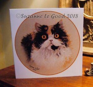 Selkirk Rex cat painting art greetings card original pastel by Suzanne Le Good