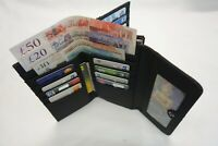 Ladies Soft Leather Purse Wallet Black Extra Large Size with Twist Clip RFID