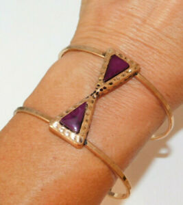 Open Frame Wide Gold tone Purple color Rhinestone Bangle Bracelet Armband