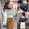 Autumn Winter Womens Ladies Knit Tops Mock Neck Long Sleeve Sweater Blouse Shirt