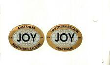 SET OF 2 SOUTHERN REGION GLOBES 1994 AUSTRALIA JOY COAL MINING STICKERS # 846