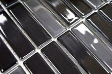 Mosaïque carreau céramique baguettes noir brillant verre 24-ST355_b   1 plaque