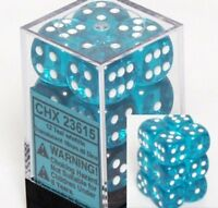 Translucent 16mm d6 Teal w/White Dice Block 12 pipped dice