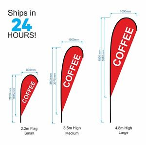 Teardrop Coffee Flag / Outdoor Advertising Promotion Flag Banner - Parts or Set