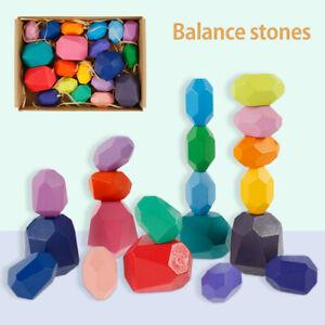 20PCS Creative Wooden Colored Stacking Balancing Stone Building Blocks Kids Toys