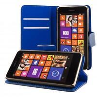 Nokia Lumia 630 635 portafoglio custodia blu scuro wallet case cover