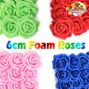 6CM 100 Pcs Large Artificial Flowers Foam Rose Heads Wedding Party Decor Bouque