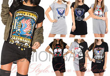 Womans Vintage Rock Born To Fly Long T Shirt Mini Dress Party Skull Roses Top