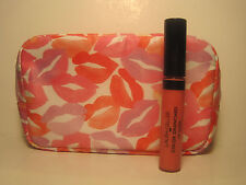 Laura Geller Color Drenched Lip Gloss Ginger .3 oz Full Size & LIPS Cosmetic bag