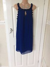 New  Monsoon Blue With Large Sequins Cocktail Dress Size 14