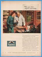 1944 Upjohn Pharmaceutical Kalamazoo Pharmacist Prescription WWII Drug Store Ad