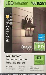 (LOT OF 2) Portfolio 13-in H Rust Dark Sky LED Outdoor Wall Light Lantern
