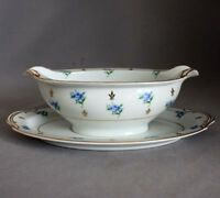 NORITAKE REMEMBRANCE 5146 GRAVY BOWL Sauce Server UNDERPLATE Blue Flowers Gold