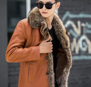 Mens Leather Coats Fur Lapel Collar Jacket Handsome Winter Casual Chic Plus Slim