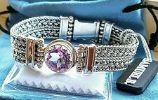 Samuel B SS Woven Bracelet With Round 14mm 8.9ct Pink Amethyst