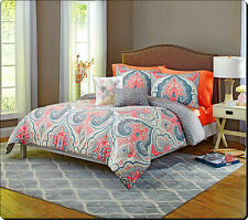 Comforter Set King Size Coral Grey Colored 5 Piece Damask Bedding Reversible