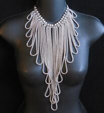 - Crystal Avenue 14560S Brand New Rhinestone & Silver Metal Chain Necklace