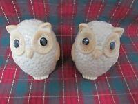 """Vintage Pair of Ceramic Owls - 8"""" H x 4"""" D x 4"""" W - Beiges - Mint Condition!"""
