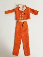 vintage Authentic barbie clone orange corduroy velvet jacket and pants
