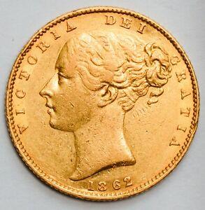 NICE GRADE 1862 Queen Victoria Gold Shield Sovereign