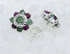 Dekorative, blütenförmige Ohrstecker Rubine Smaragde 925er Silber