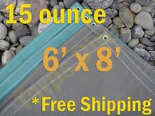 6 ft x 8 ft Olive Drab Canvas Cotton 15 oz Water Resistant Tarp Breathable