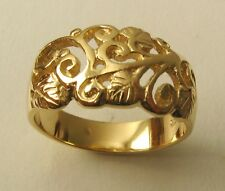 GENUINE SOLID  9K  9ct  YELLOW  GOLD DOME FILIGREE DRESS  RING