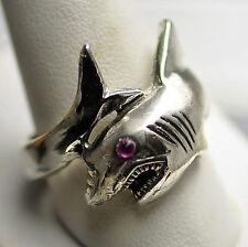 LOOK Shark Silver Ring JAWS HEAVY Jewlery Ruby eye 14+ GRAMS
